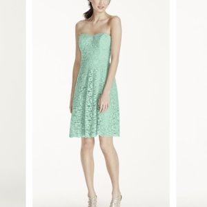 Short strapless lace dress, Mint color, Size 4
